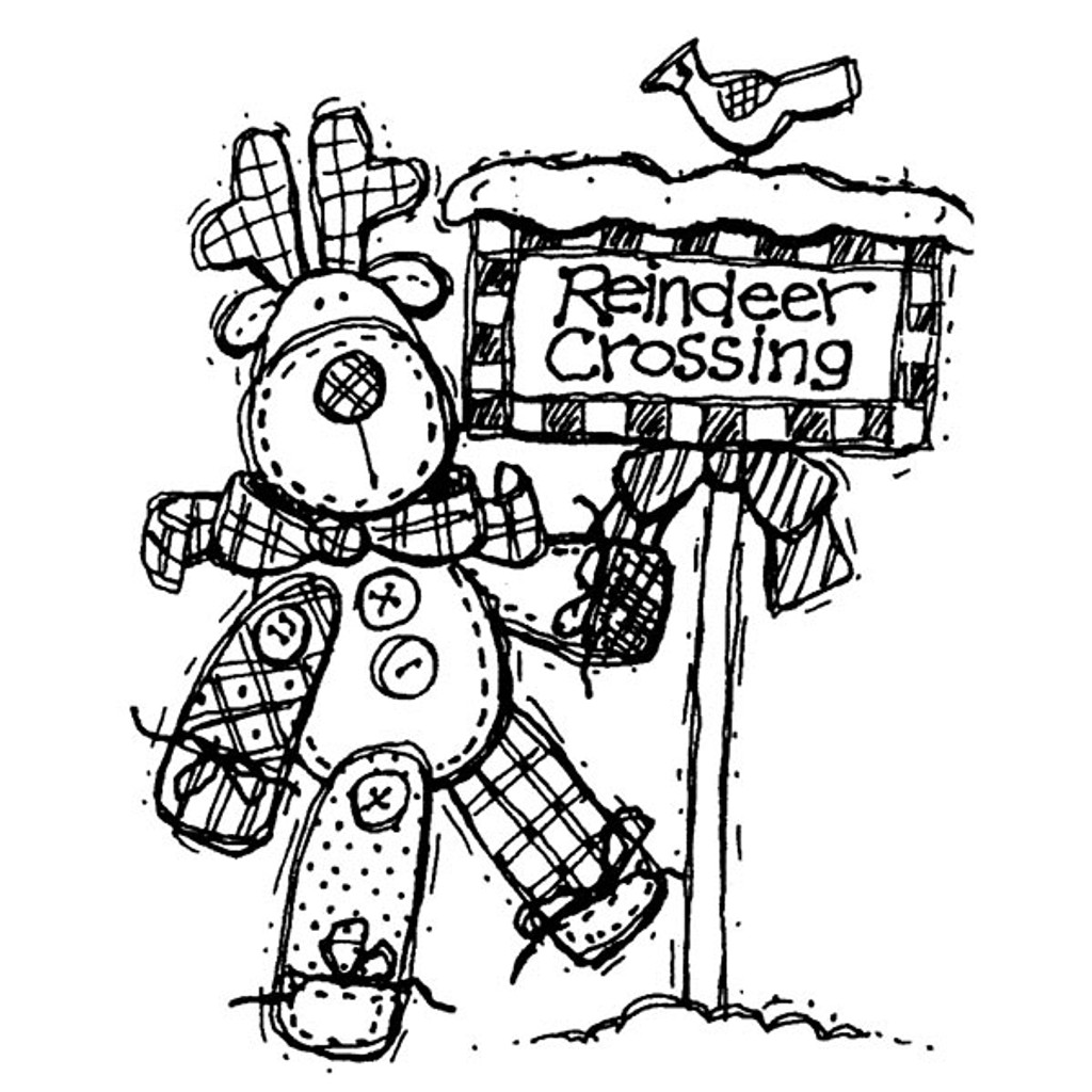 Reindeer Crossing — Large Wood Mounted Stamp by Karen Foster