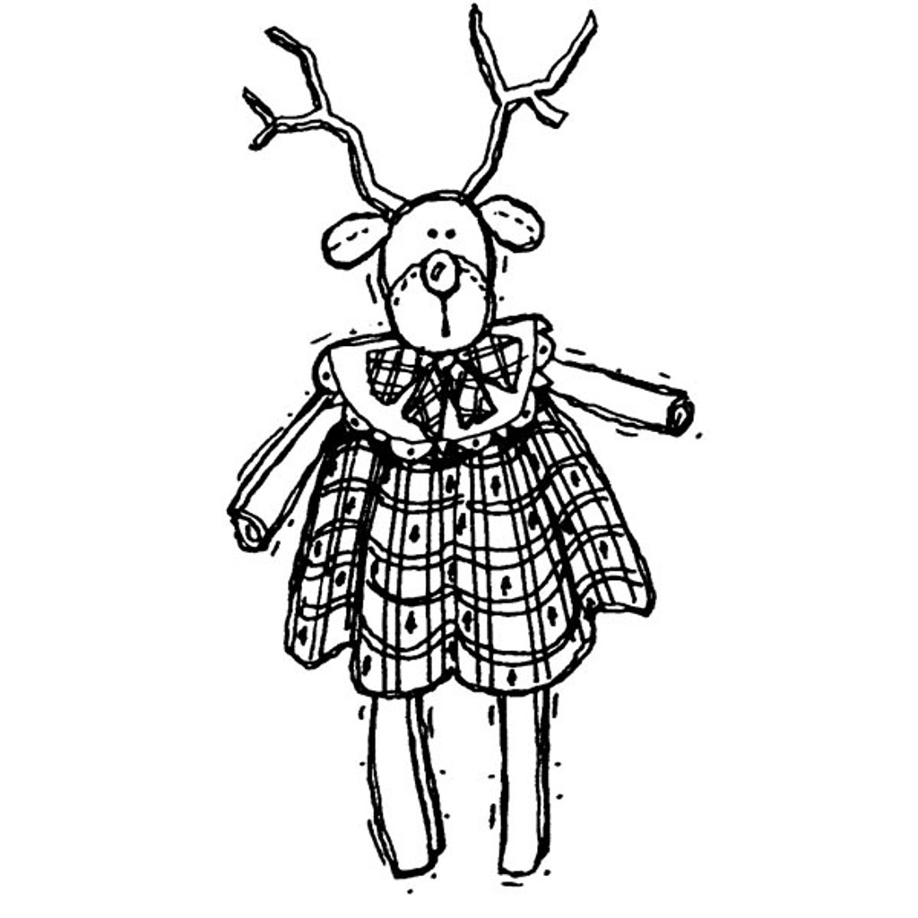 Reindeer Doll — Large Wood Mounted Stamp by Karen Foster