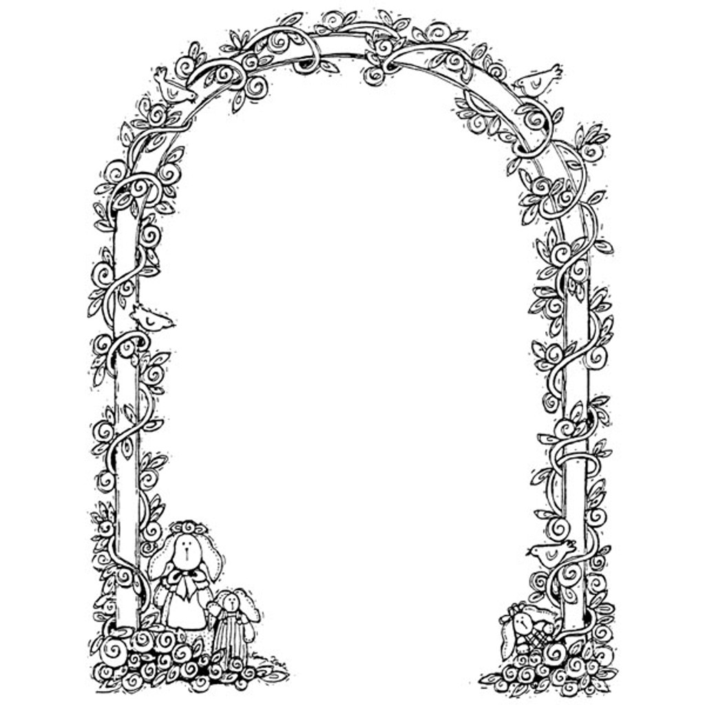 Garden Arch Wood Mounted Stamp by Karen Foster