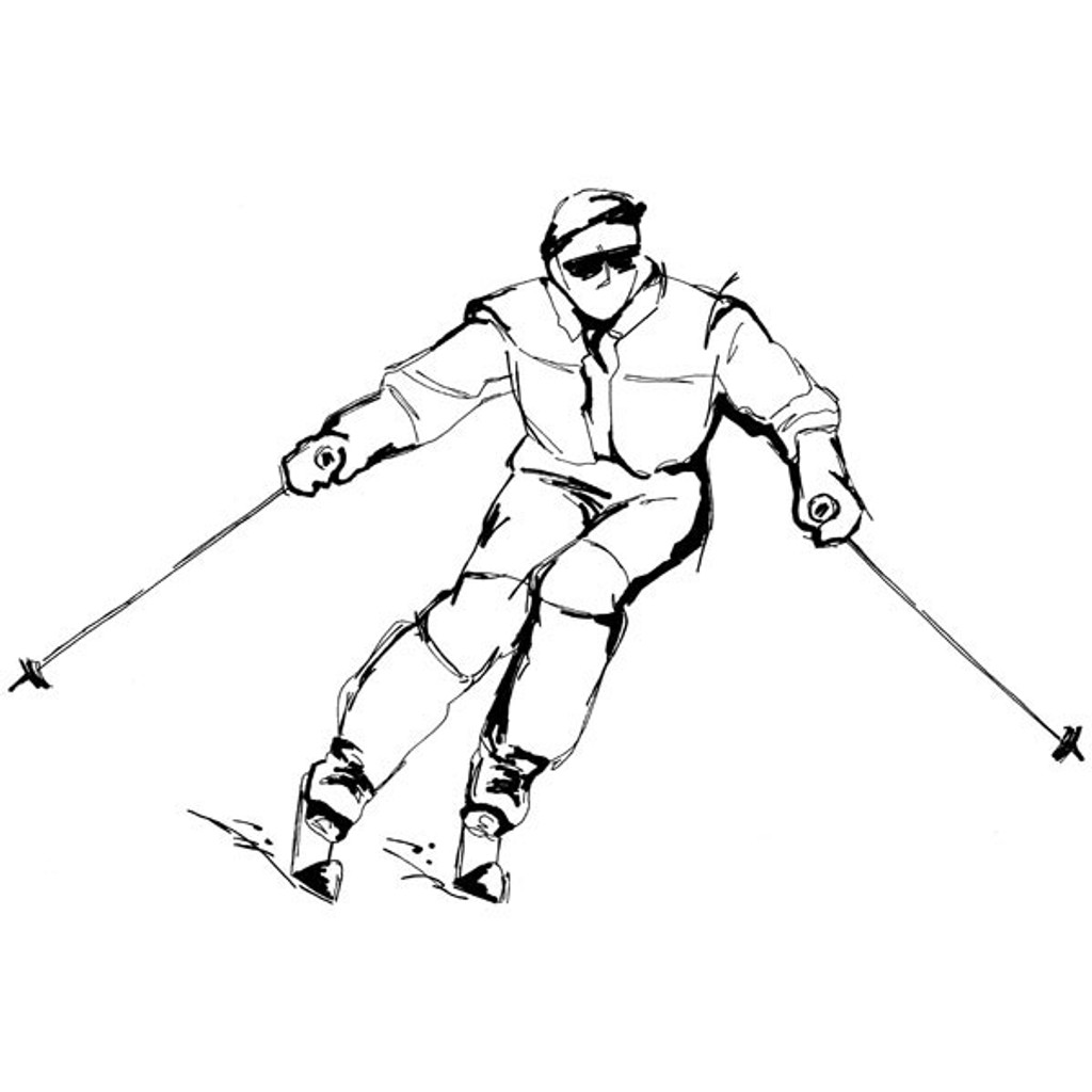 Skier — Small Wood Mounted Stamp by Classic Stampington & Company