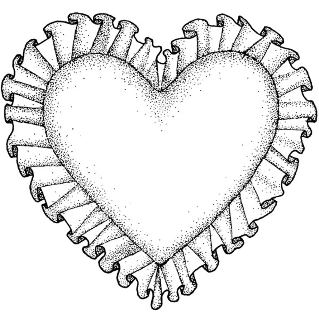 Ruffled Heart - Medium Wood Mounted Stamp by Classic Stampington & Company