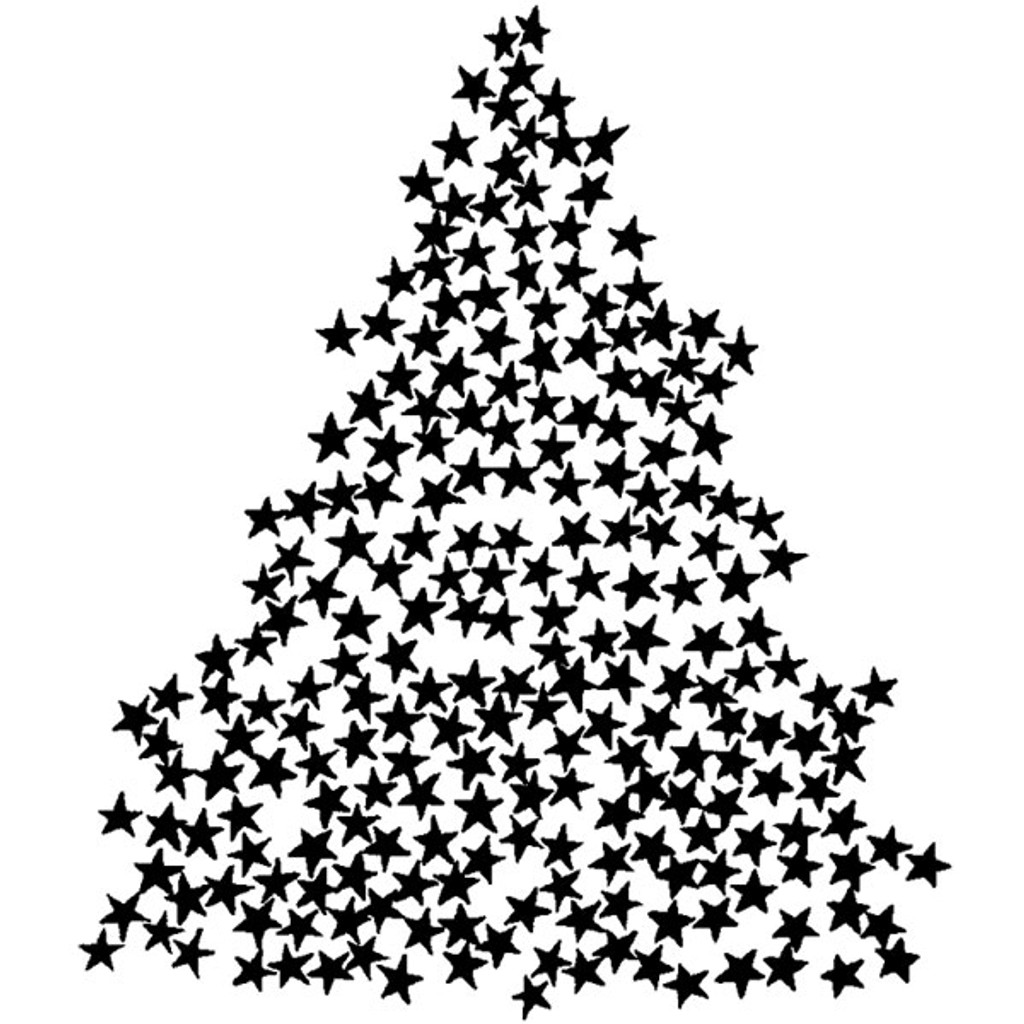 Star Tree — Medium Wood Mounted Stamp by Classic Stampington & Company