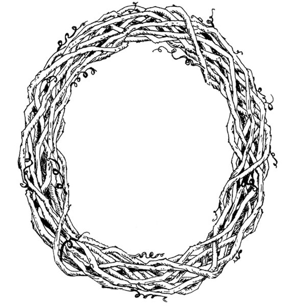 Grapevine Wreath - Large Unmounted Stamp by Classic Stampington & Company