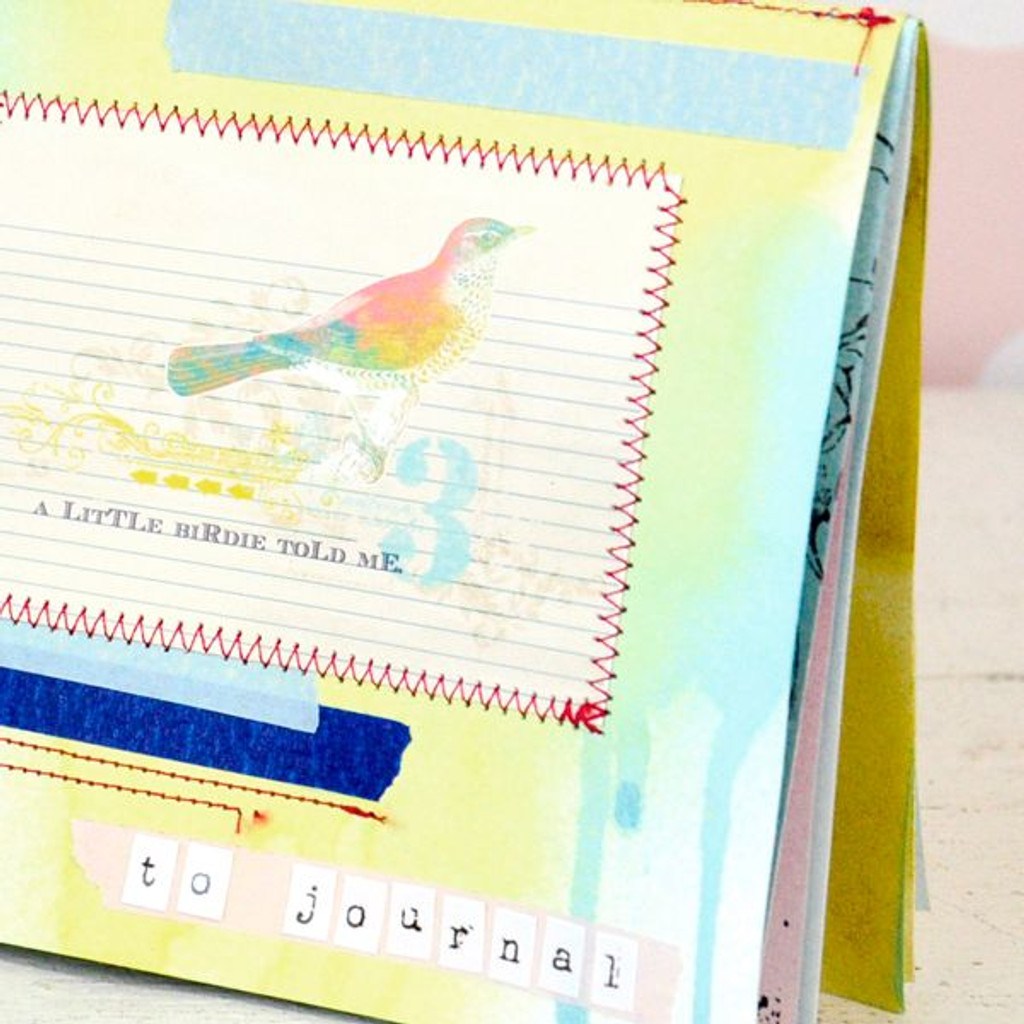 Spritzed and Stitched Journal Book Project