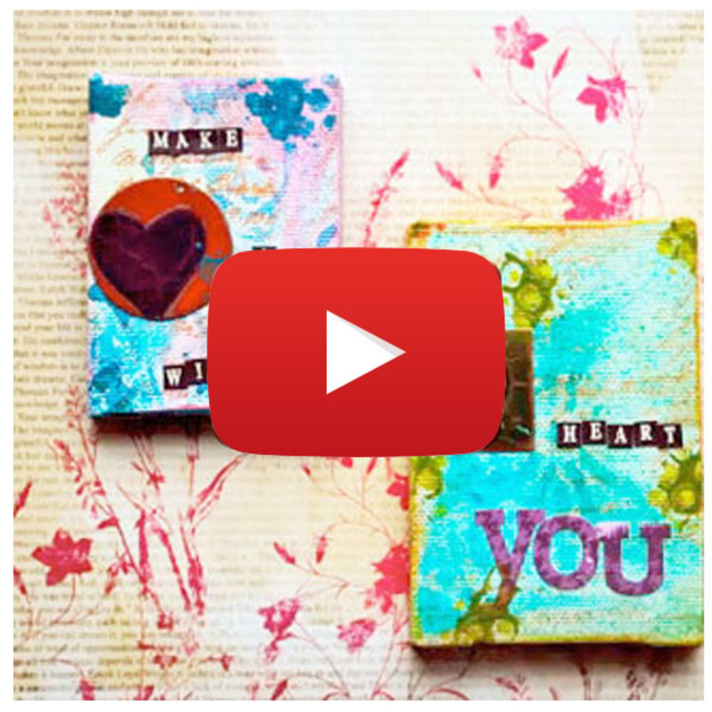 Mixed-Media Heart Canvases Video By Nathalie Kalbach