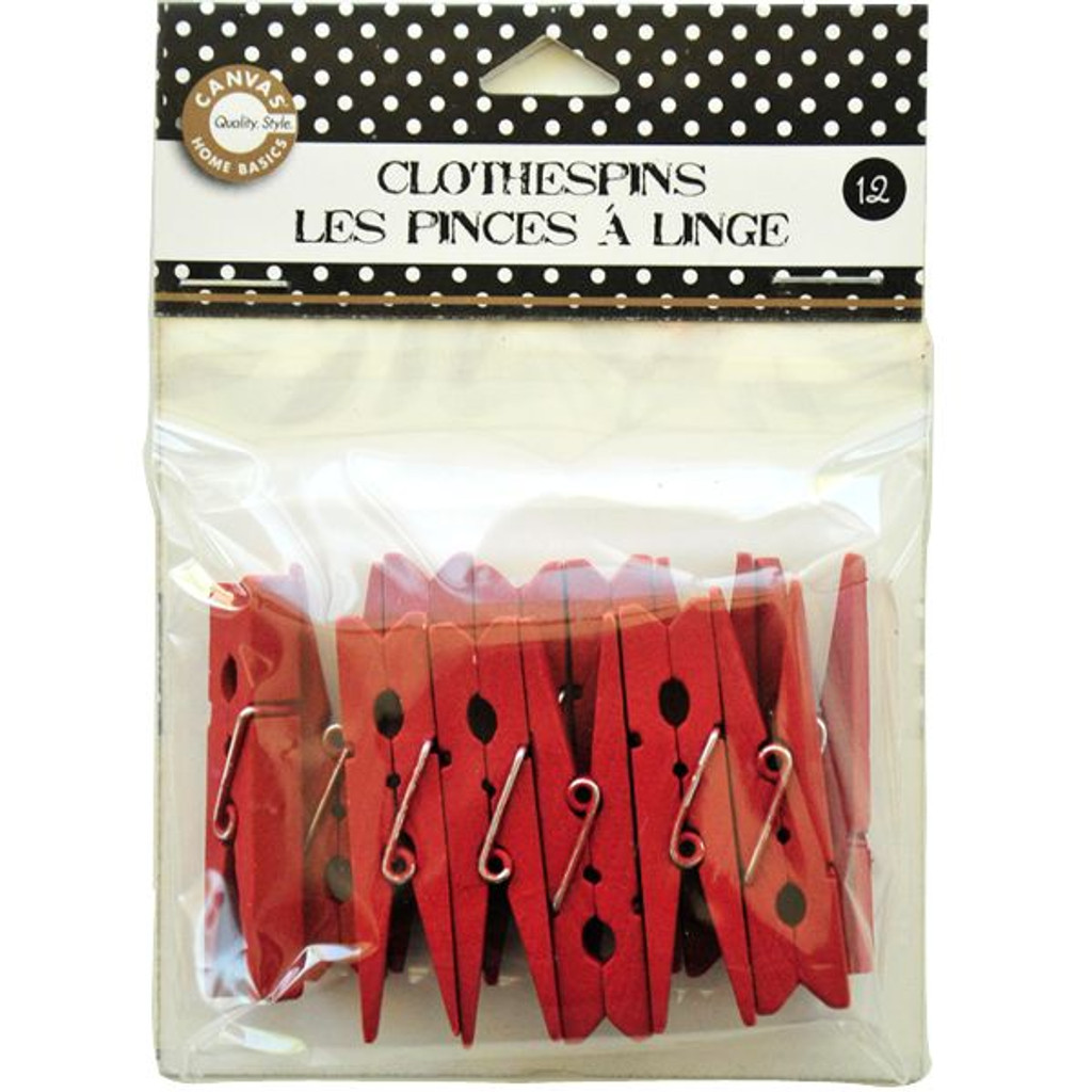 Canvas Corp Clothespins Small — Red