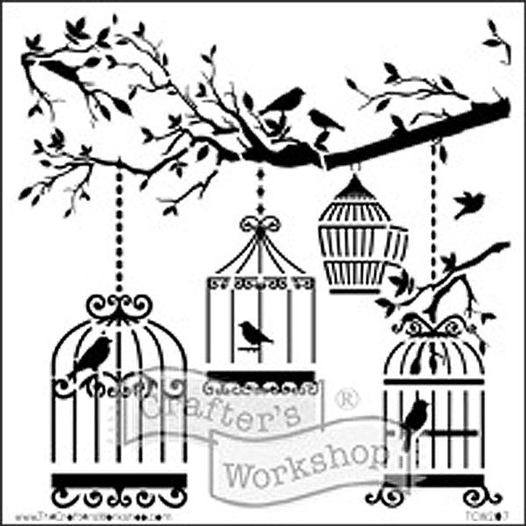 The Crafter's Workshop Birds of a Feather Stencil — 12 x 12