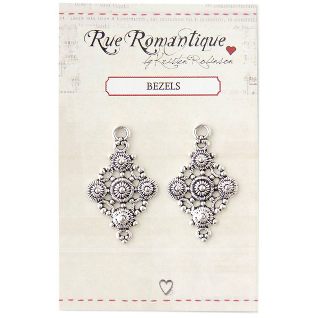 Small Filigree Diamond Circles - Silver Tone