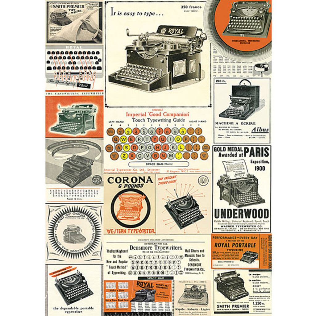 Cavallini & Co. Decorative Wrap — Vintage Typewriters