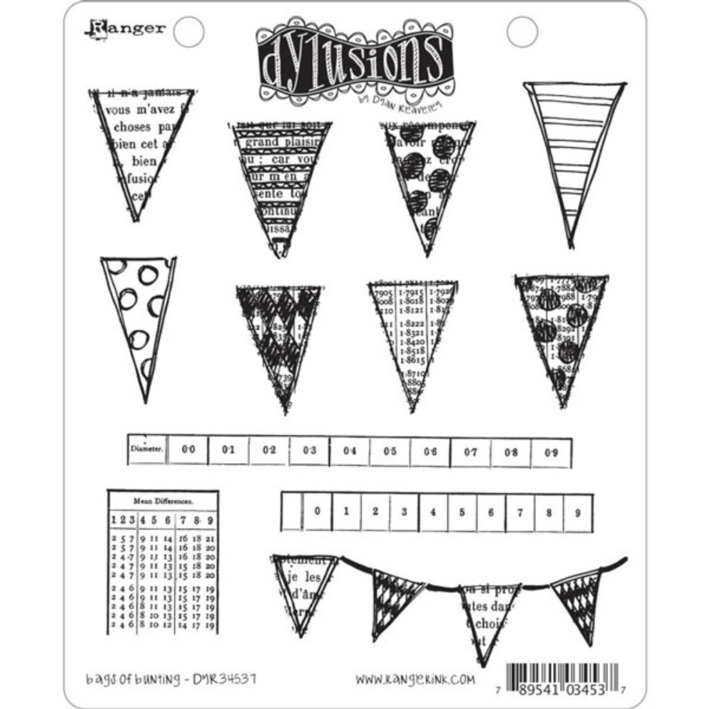 Ranger Ink Dylusions Cling Mount Stamps — Bags of Bunting by Dyan Reaveley