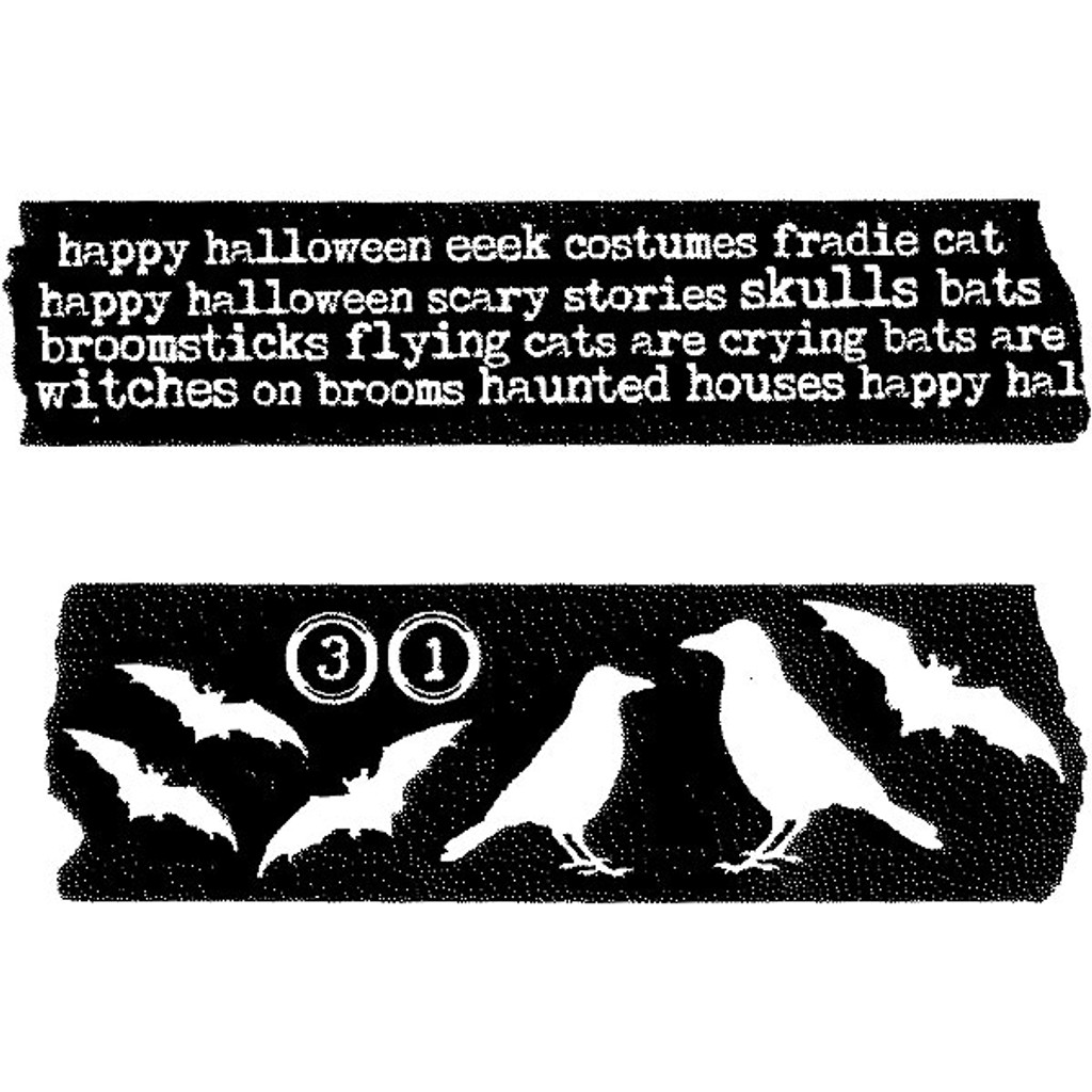 Red Lead Cling Mount Tape Rubber Stamp — Happy Halloween and Ravens