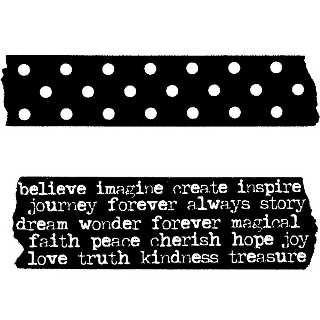 Red Lead Cling Mount Tape Rubber Stamp -Polka Dot and Favorite Words