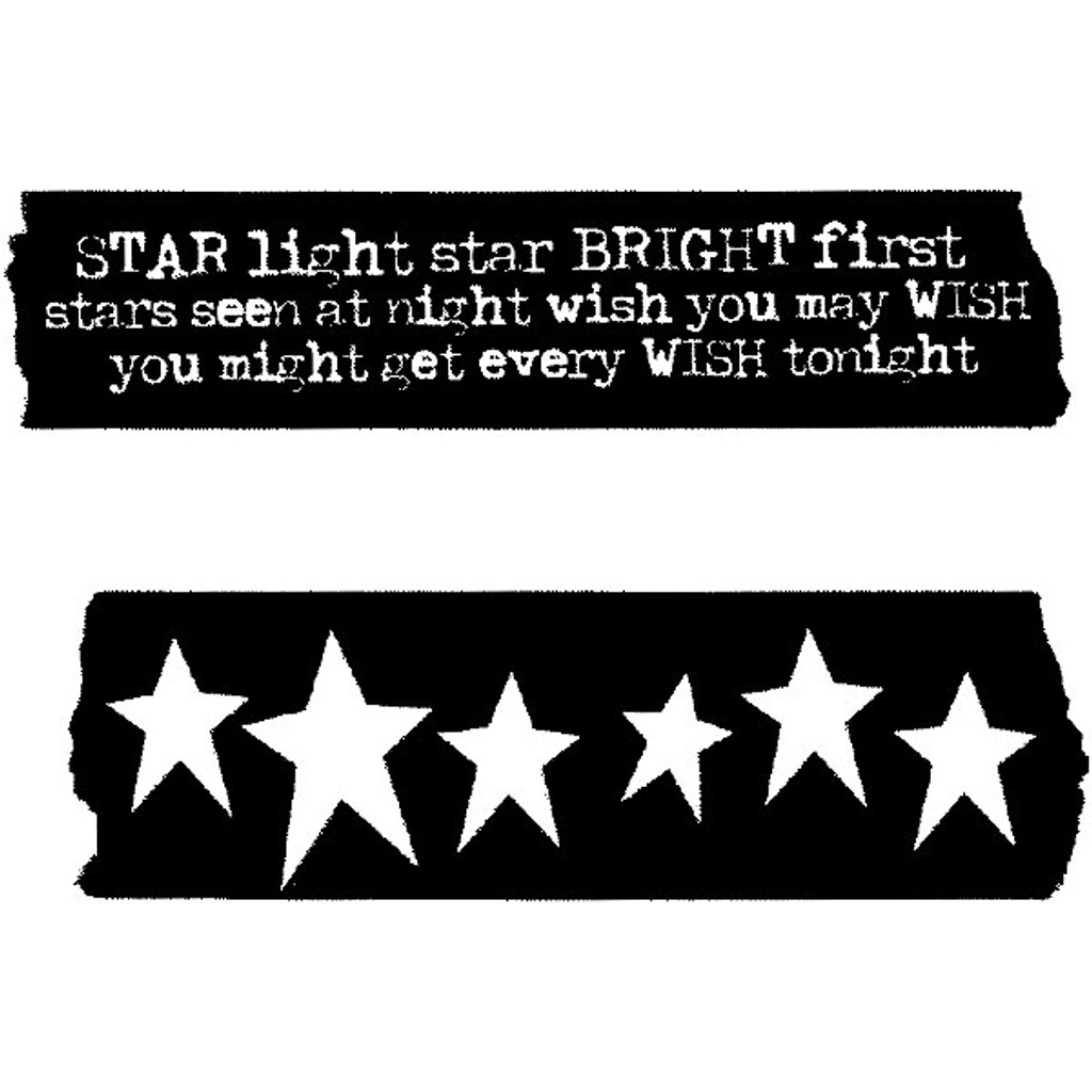 Red Lead Cling Mount Tape Rubber Stamp —Starlight Starbright and Stars
