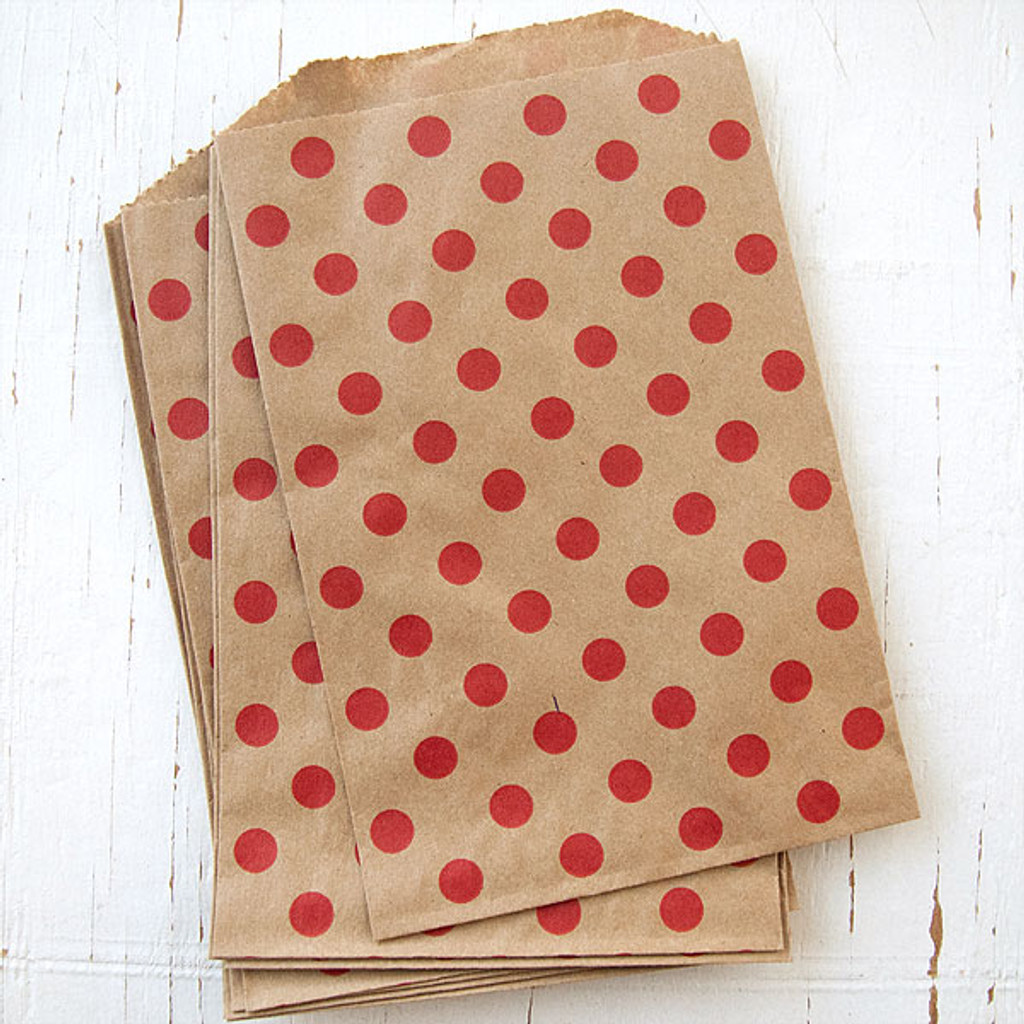 Patterned Paper Bags Middy Bitty Polka Dot Red on Kraft