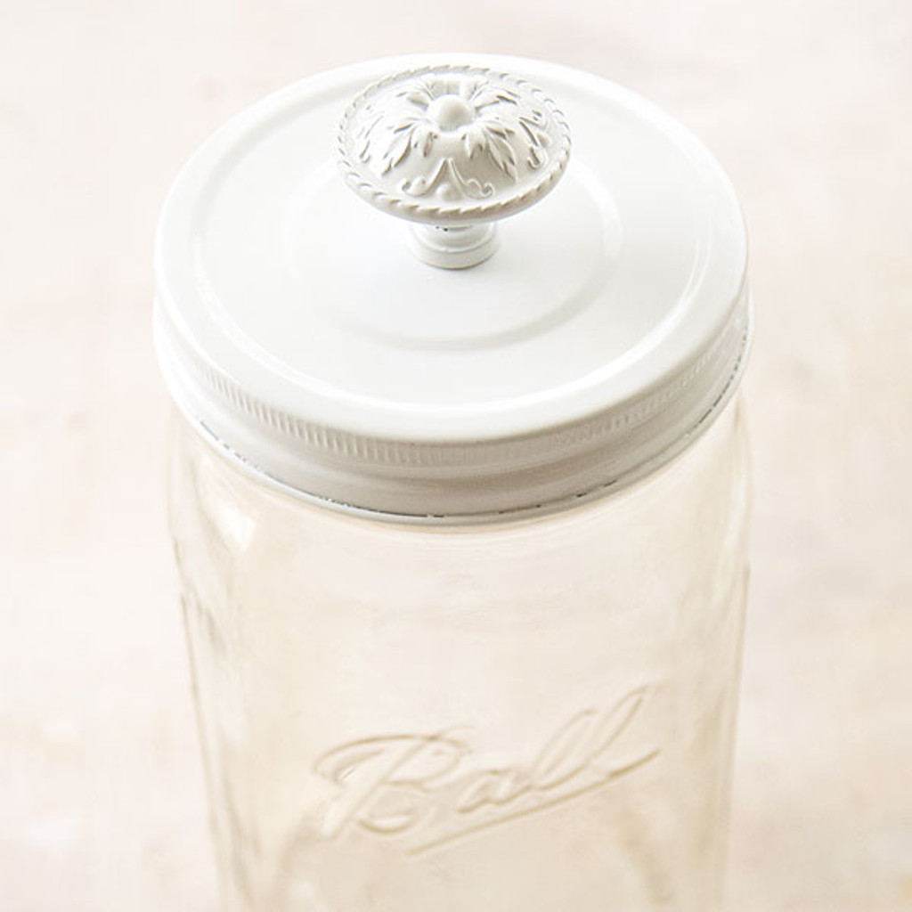 Cosmo Cricket Show Toppers - White Mason Jar Lid with Knob