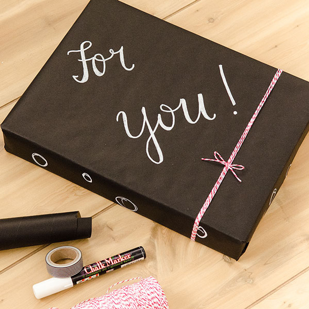 Custom Chalkboard and Kraft Paper Gift Wrap by Christen Olivarez