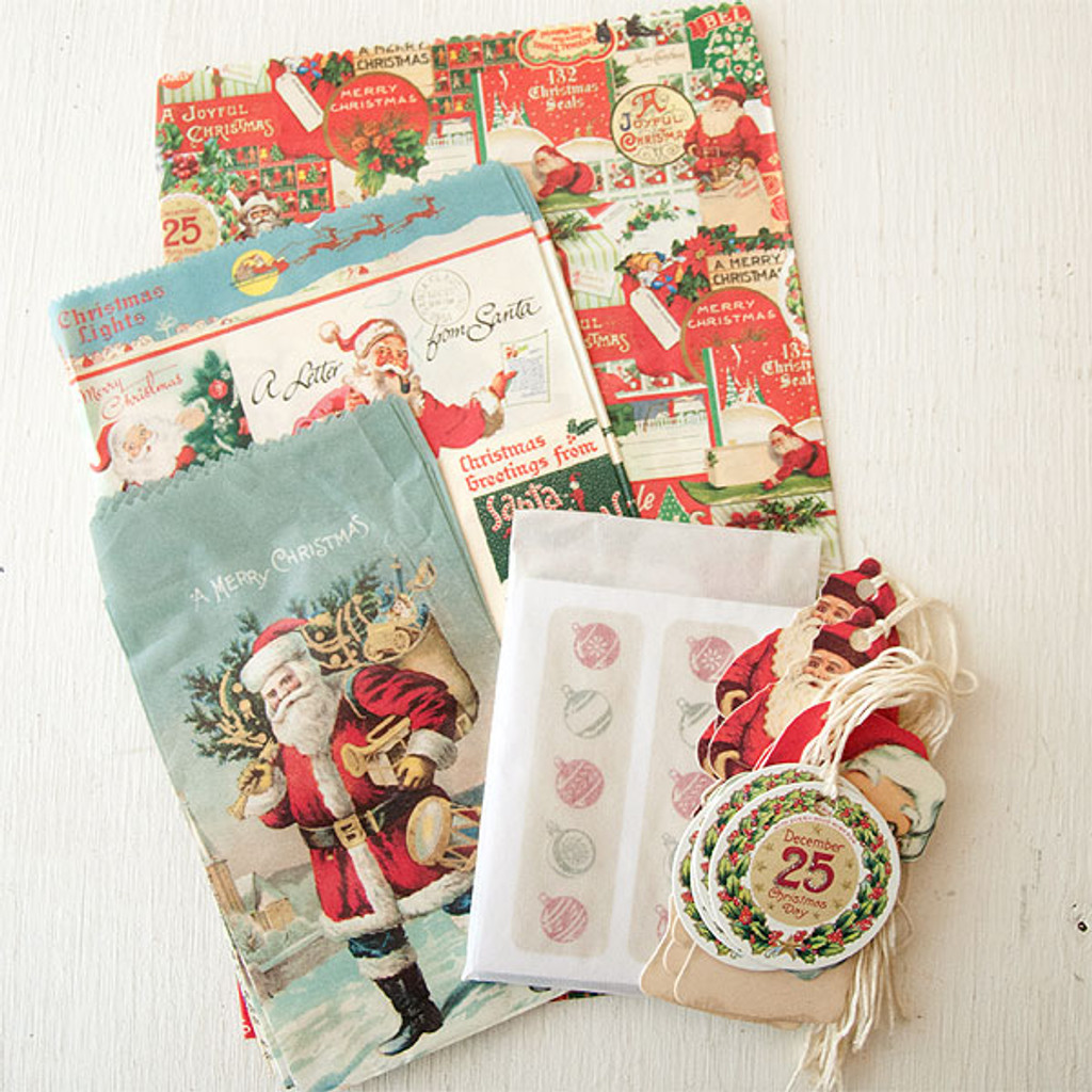 Cavallini & Co. Petite Parcel Stationery Set - Christmas Santa