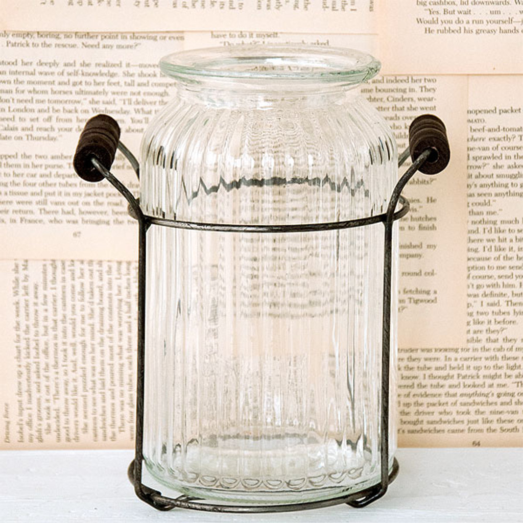 Glass Jar with Wire Holder - Tall