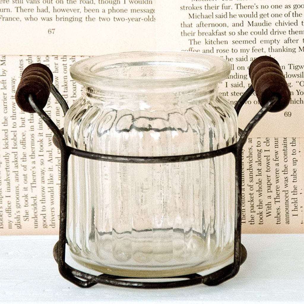 Glass Jar with Wire Holder - Short