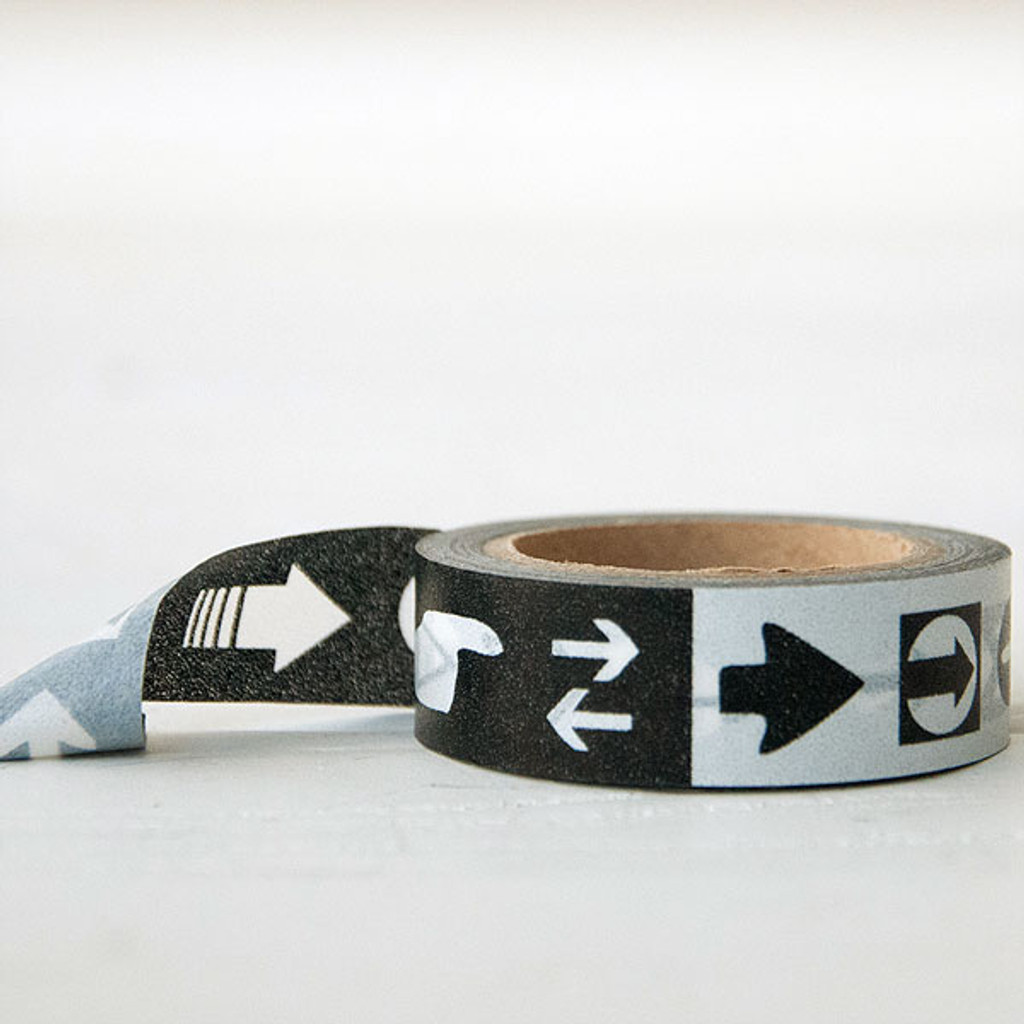 Washi Tape — Arrows and Signals White Black