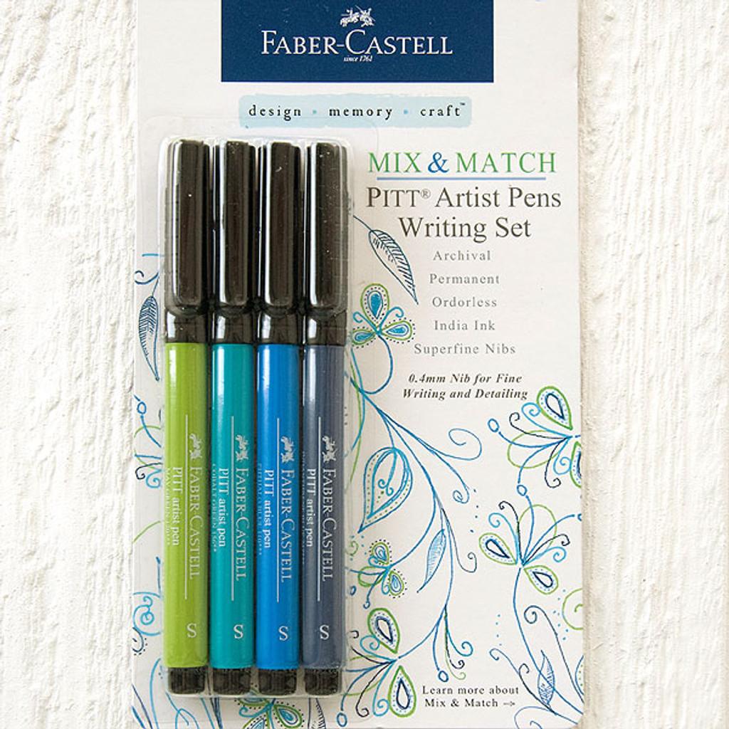 Faber-Castell —Mix and Match Pitt Artist Pen Writing Set Blue/Green