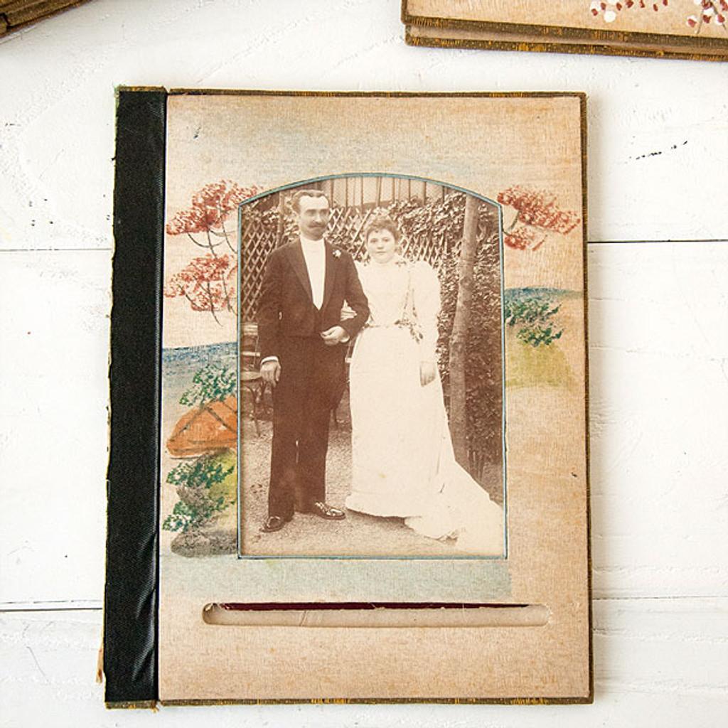 French Flea Market Antique Album Photo Page — Wedding