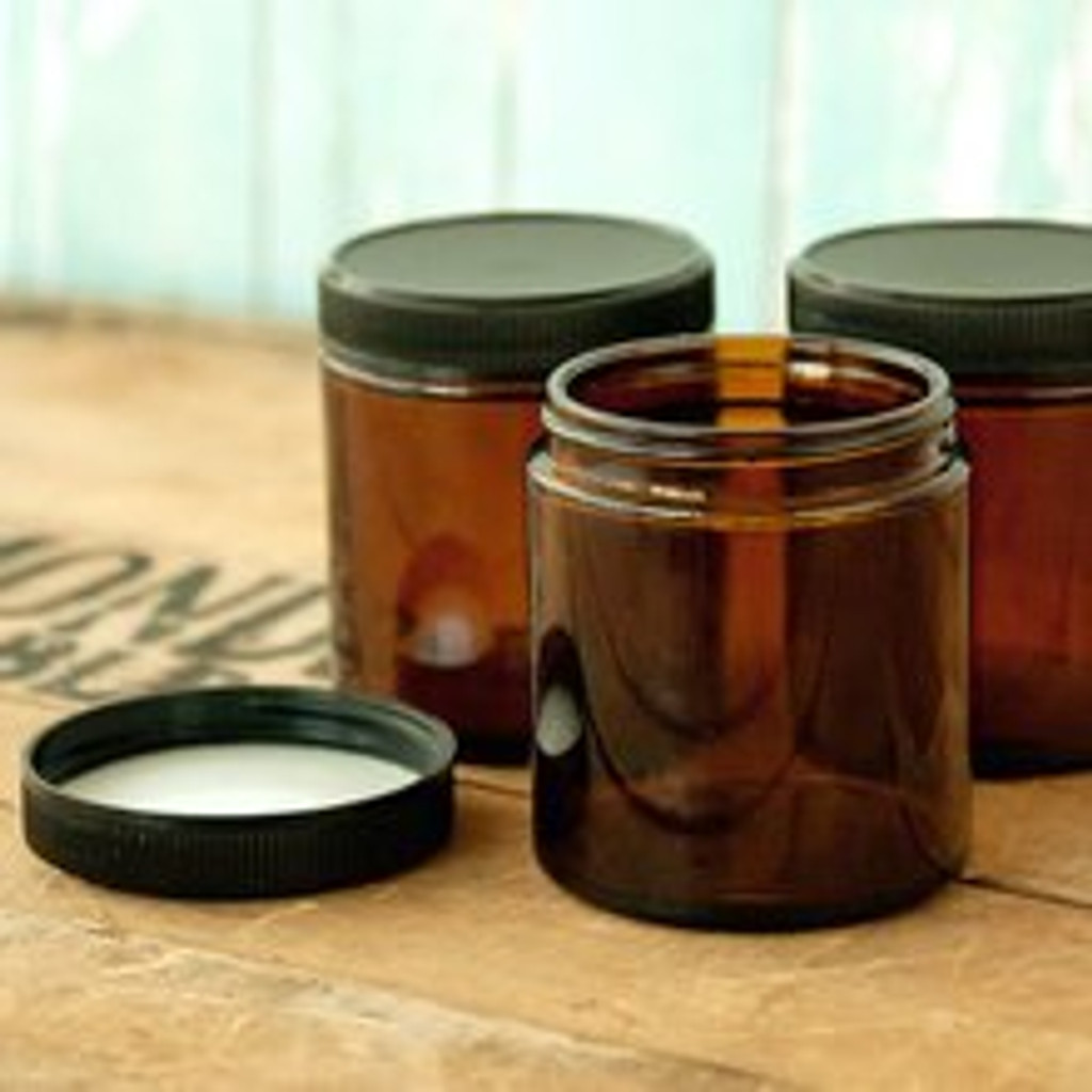Amber Glass Jar 4 oz (120ml) w/ Lid Straight Sided - Kit of 3