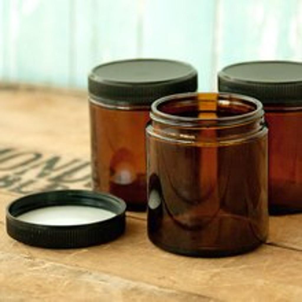 Amber Glass Jar 4 oz (120ml) w/ Lid Straight Sided - Kit of 3