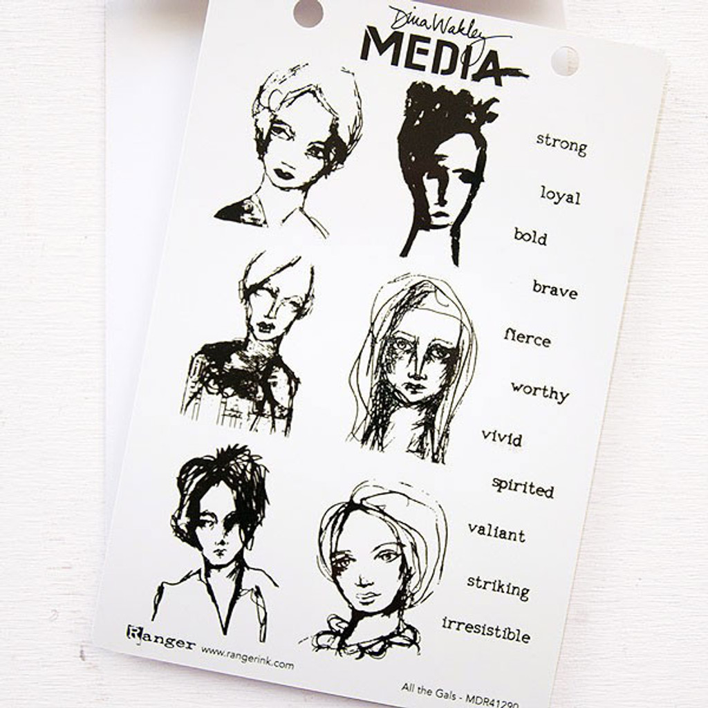 Ranger Ink Dina Wakley Media Cling Stamps - All the Gals