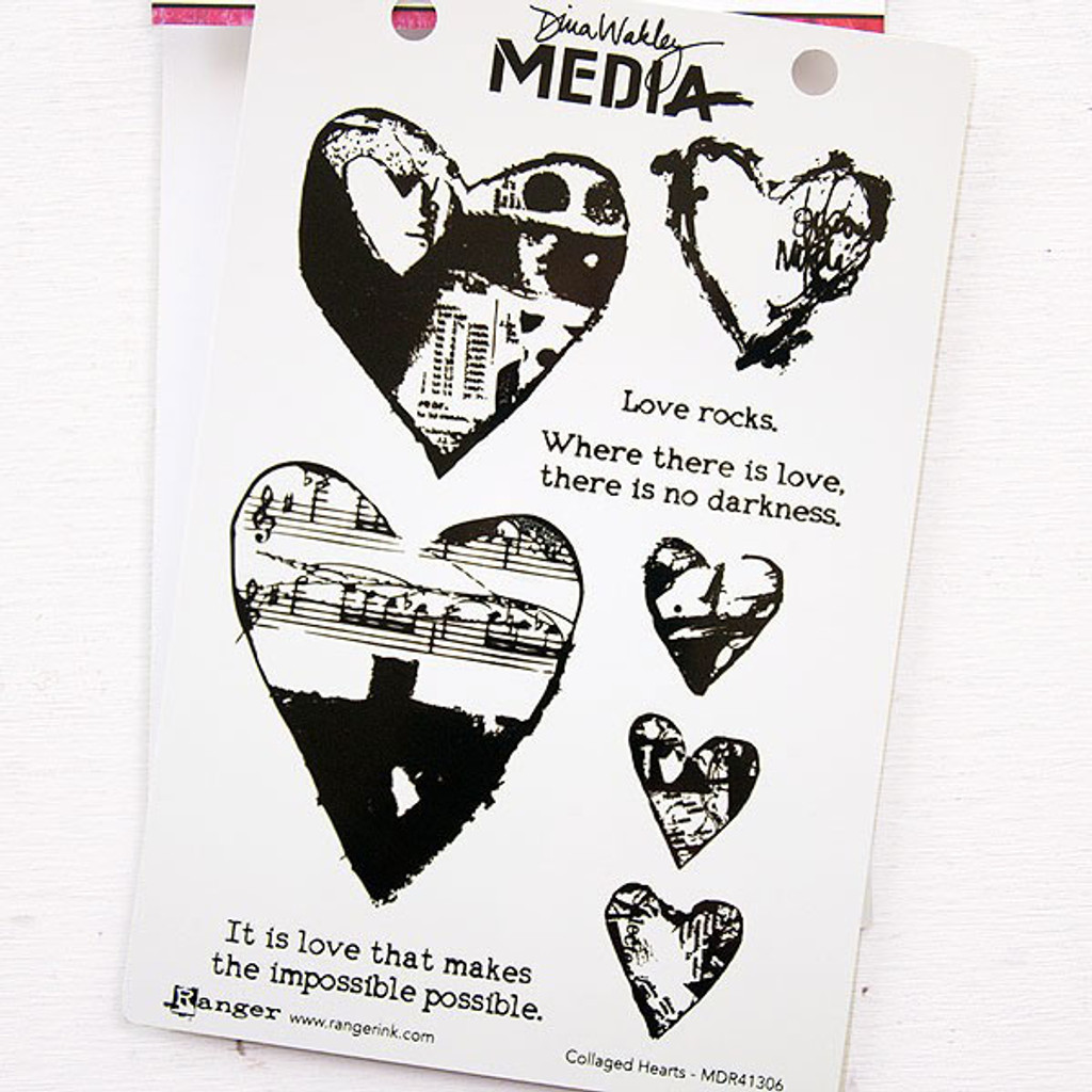 Ranger Ink Dina Wakley Media Cling Stamps - Collage Hearts