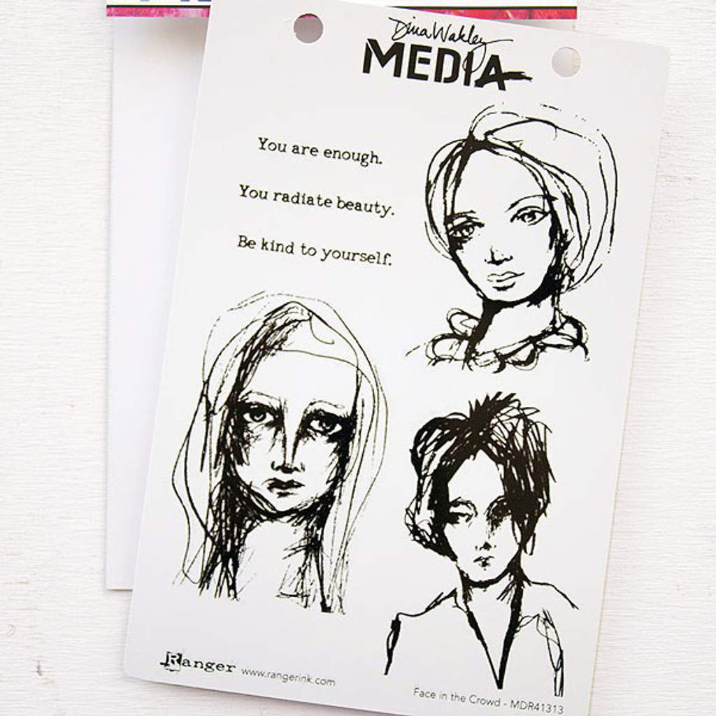 Ranger Ink Dina Wakley Media Cling Stamps — Face in the Crowd