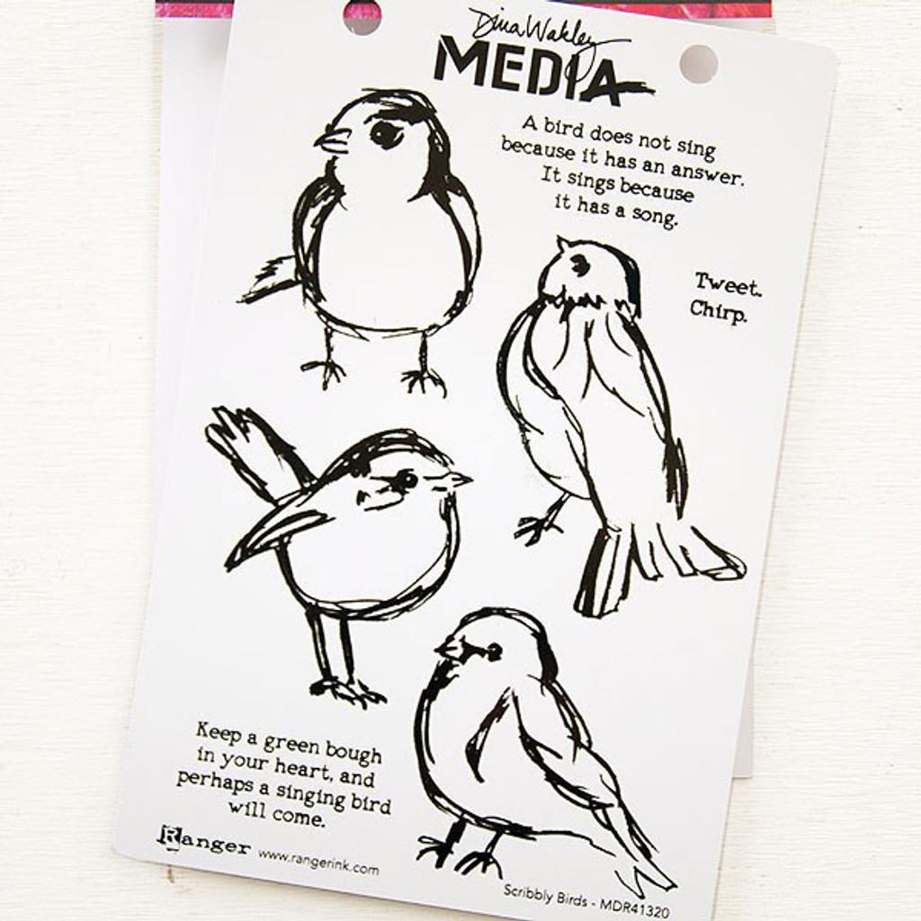 Ranger Ink Dina Wakley Media Cling Stamps - Scribbly Birds