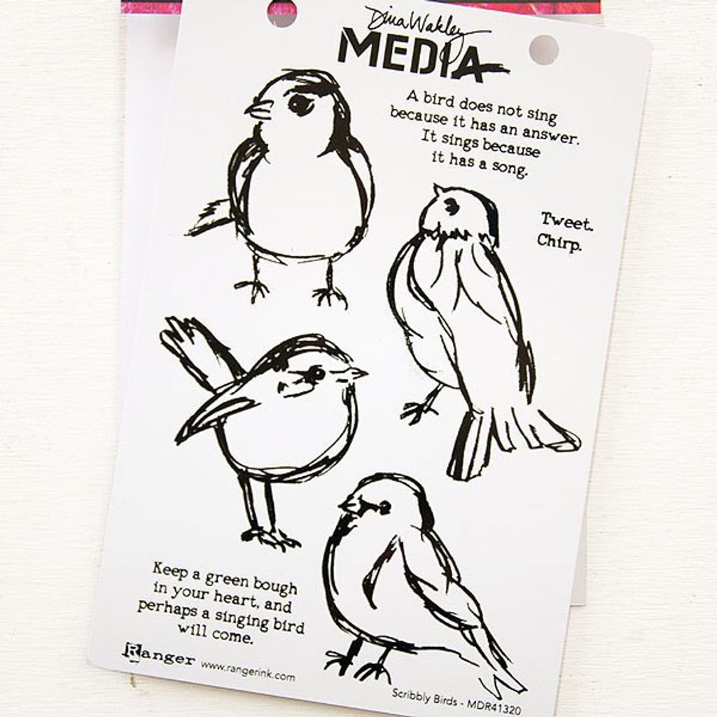 Ranger Ink Dina Wakley Media Cling Stamps — Scribbly Birds