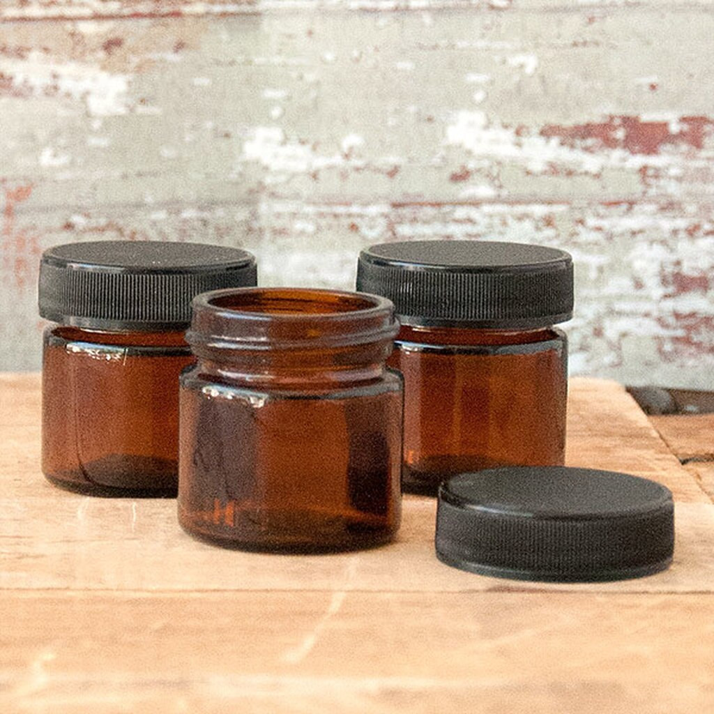 Amber Glass Jar 0.85 oz (25ml) w/ Lid Straight Sided — Kit of 3