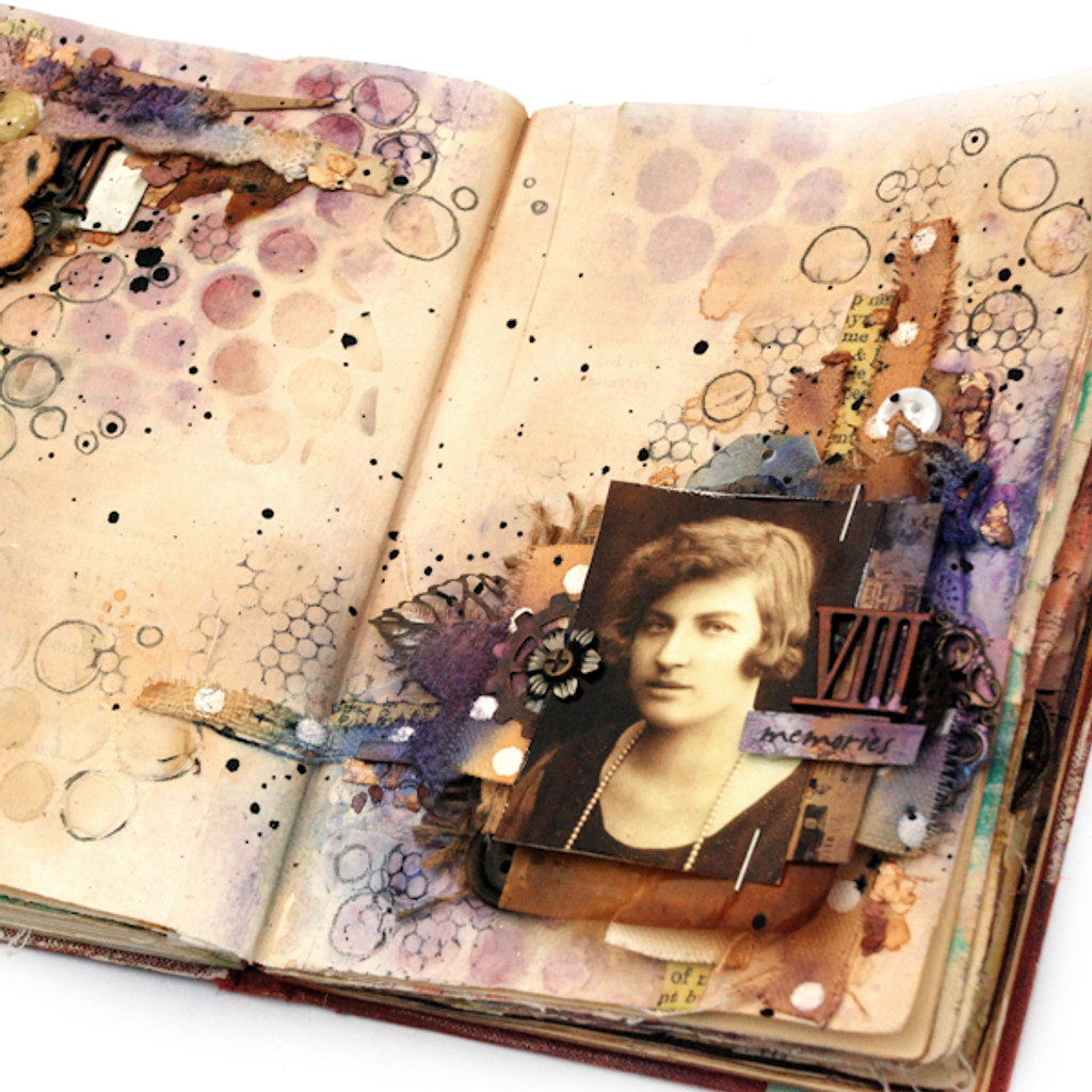 Memories Art Journal Page Project by Finnabair