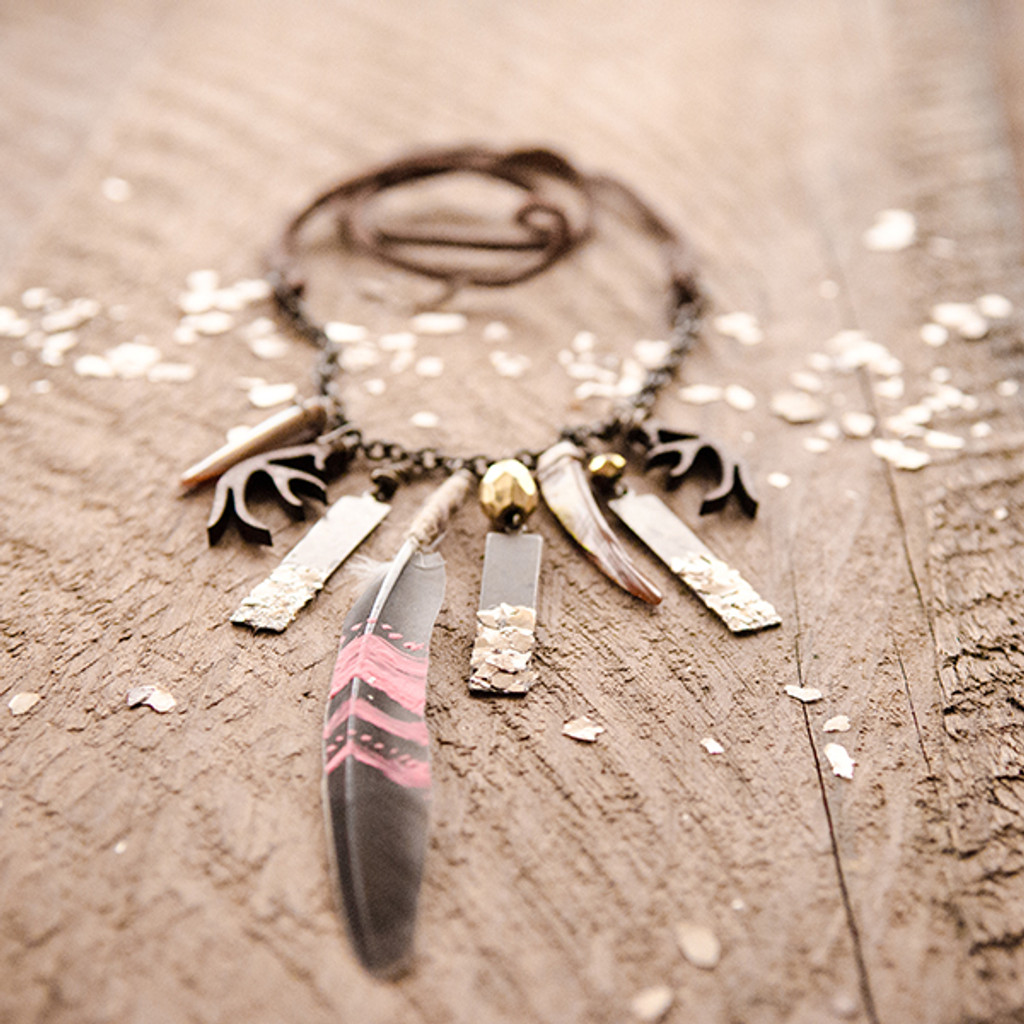 Mica and Feather Necklace Project by Johanna Love
