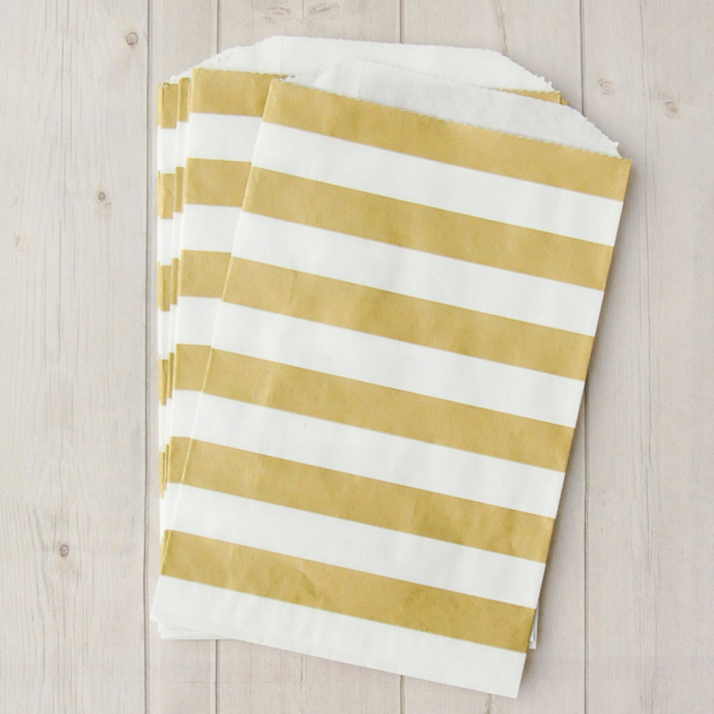 Patterned Paper Bags Middy Bitty Stripes — Metallic Gold on White Includes 10 bags