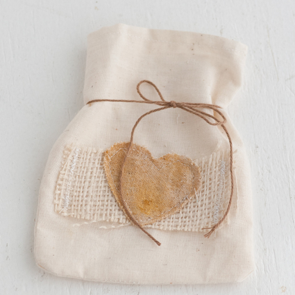 Handmade by Somerset Filled with Love Muslin Bag with Stitched Heart