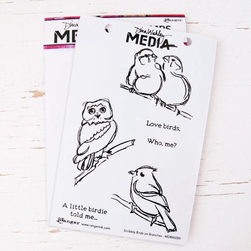 Ranger Ink Dina Wakley Media Stamps — Scribbly Birds On Branches