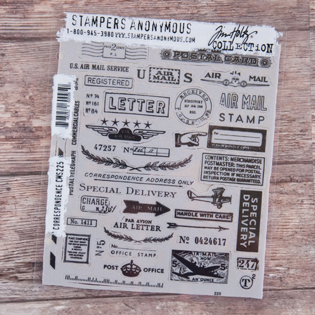 Stampers Anonymous Tim Holtz Cling Mount Stamp Set Correspondence