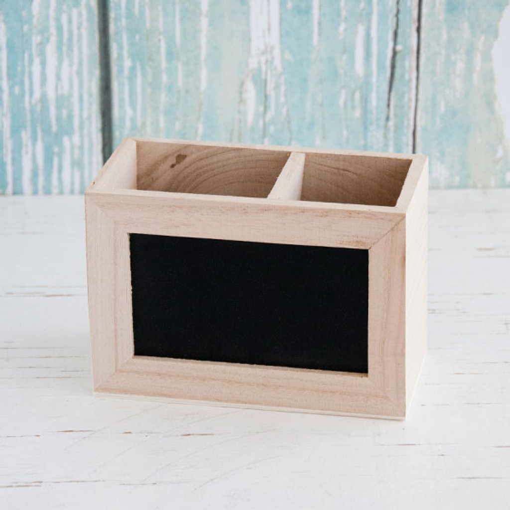 Unfinished Wood Chalkboard Display Caddy
