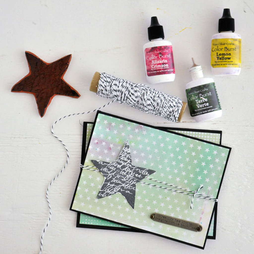 Color Burst Meets Tim Holtz Resist Paper Card Project