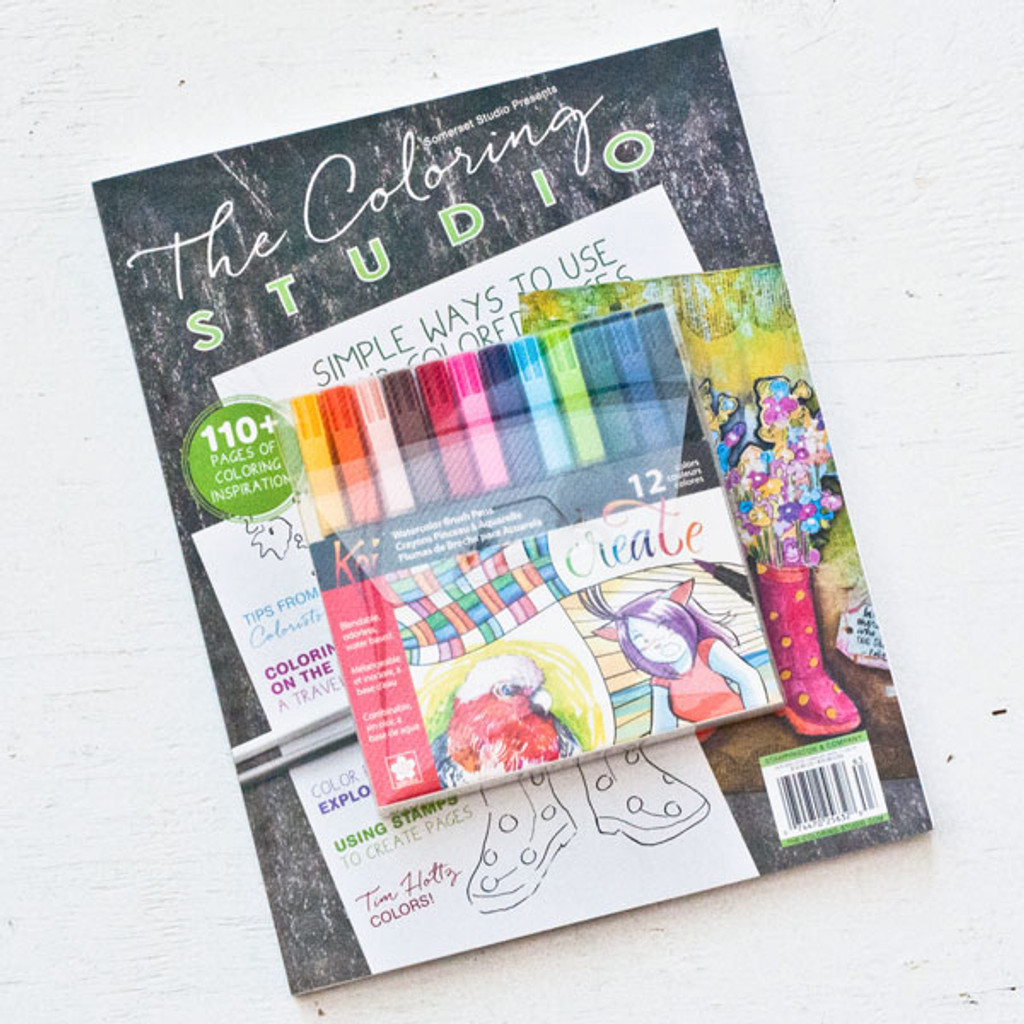 The Coloring Studio Gift Bundle with Sakura Koi Brush Markers