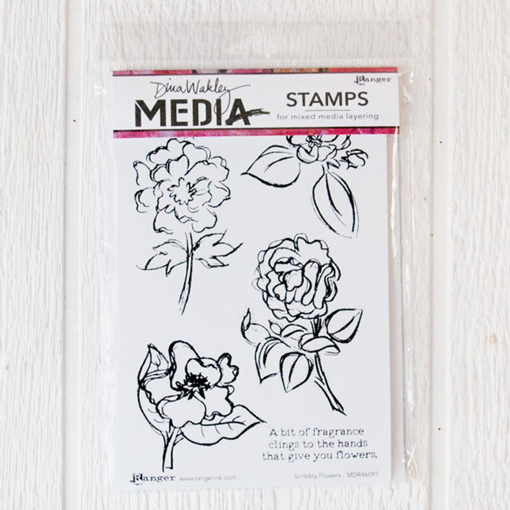 Ranger Ink Dina Wakley Media Cling Stamps — Scribbly Flowers