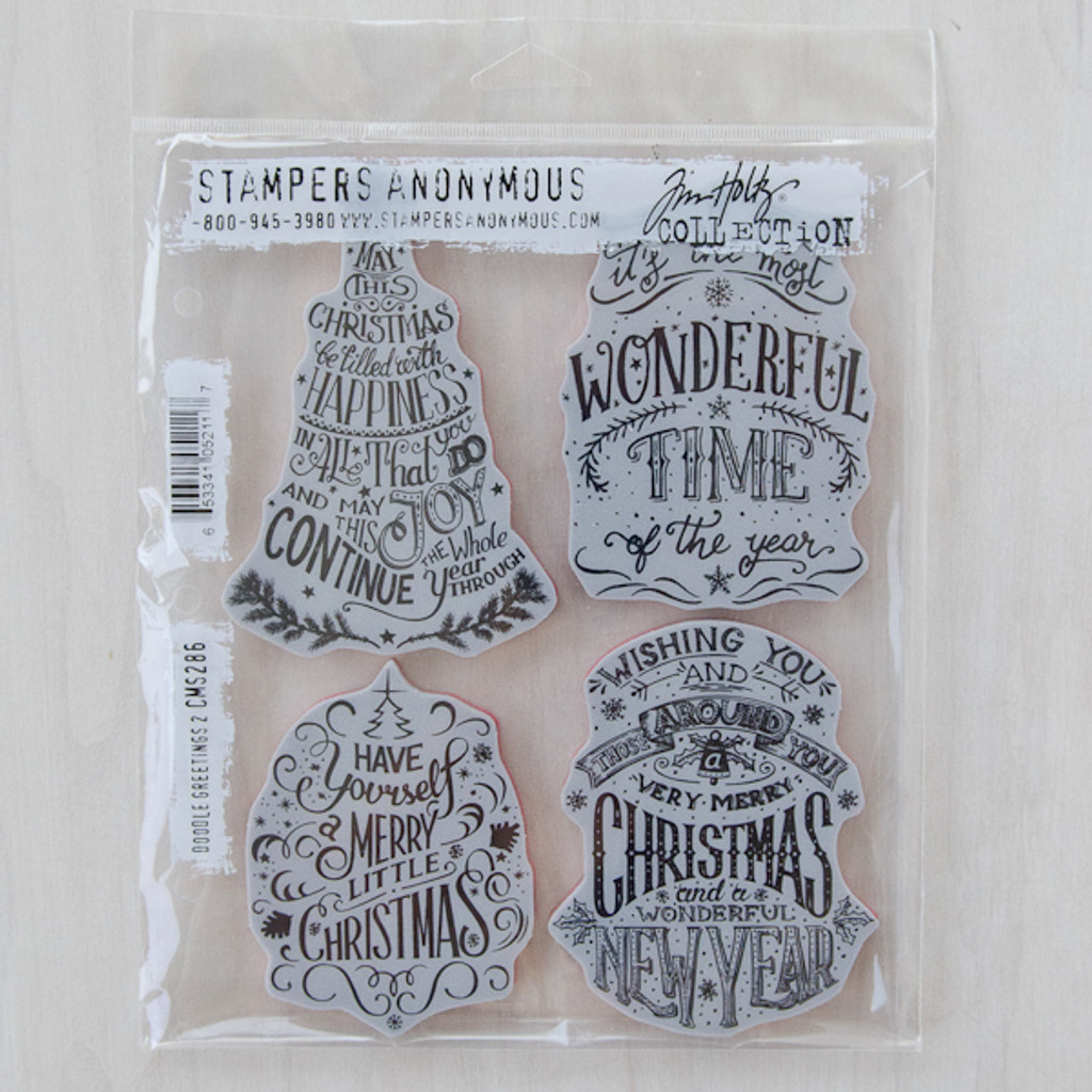 Stampers Anonymous Tim Holtz Cling Mount Stamp Set - Christmas Doodle #2