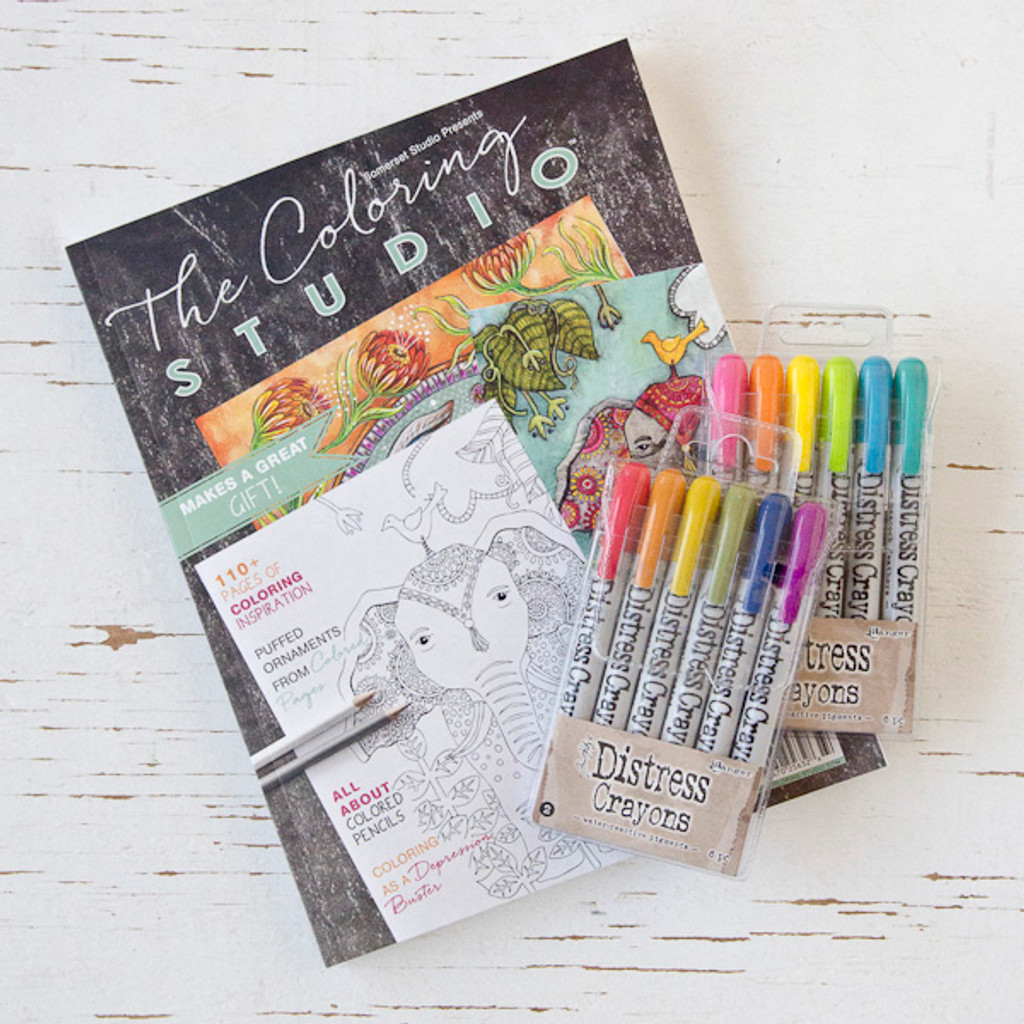 The Coloring Studio Gift Bundle with Tim Holtz Distress Crayon Sets Exp