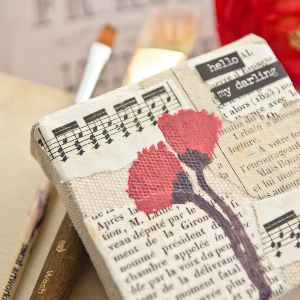 Red Poppies Mixed-Media Canvas