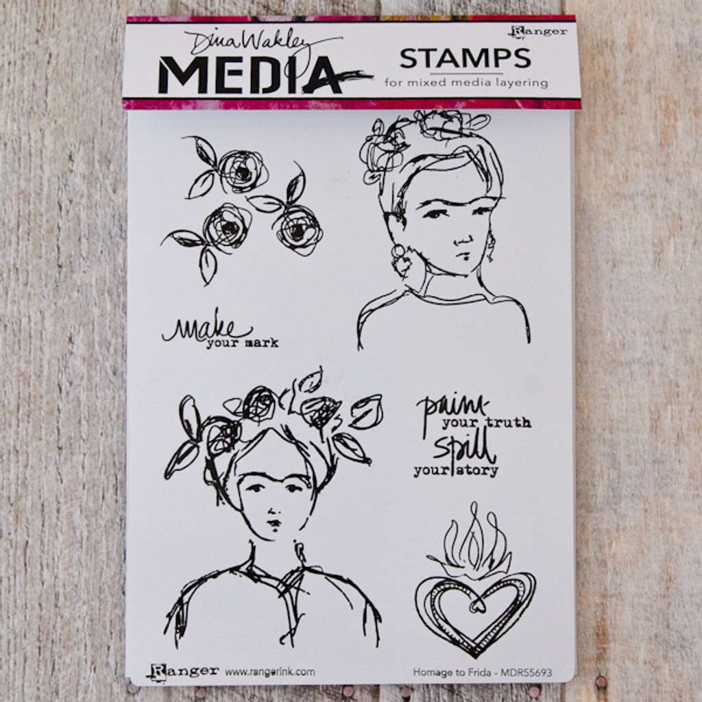 Ranger Ink Dina Wakley Media Cling Stamps - Homage to Frida
