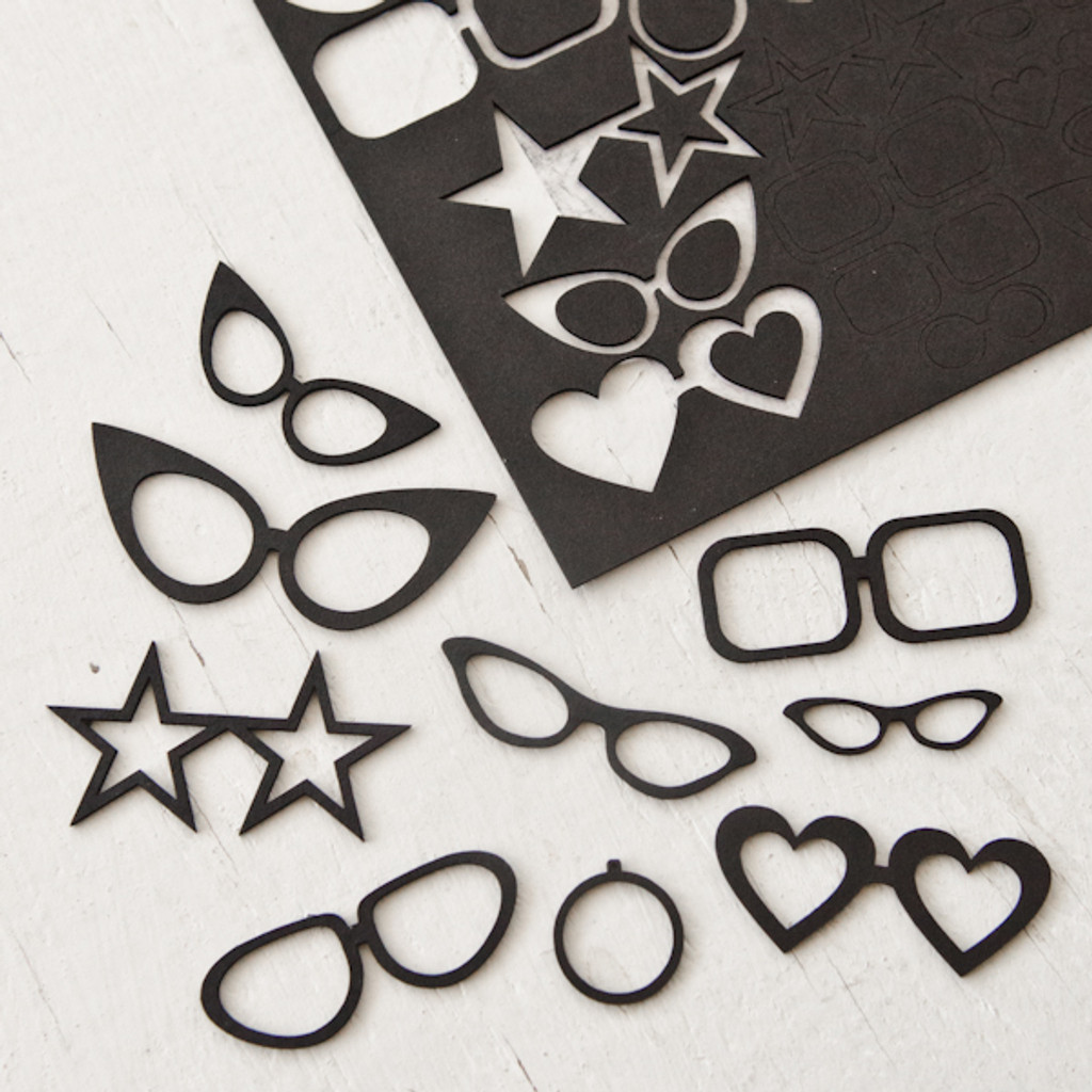 Chipboard Collage Cut—Outs Glasses and Monocles