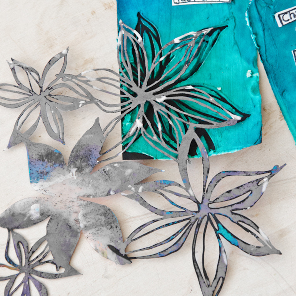 Ocean Blues Spray Ink Tags Project